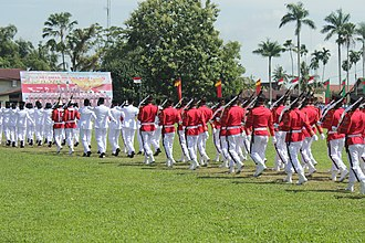 Paskibraka - 45 armed personnel usually originates from Military or Police forces tasked to serve with the Paskibraka during independence commemoration ceremonies in Indonesia as the honor guard
