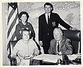 Pat Holden, Dublin football Team Captain, and his cousins Mrs. James Kellihen (seated) and Miss Elizabeth Bithoney visit with Mayor John F. Collins (13850095433).jpg