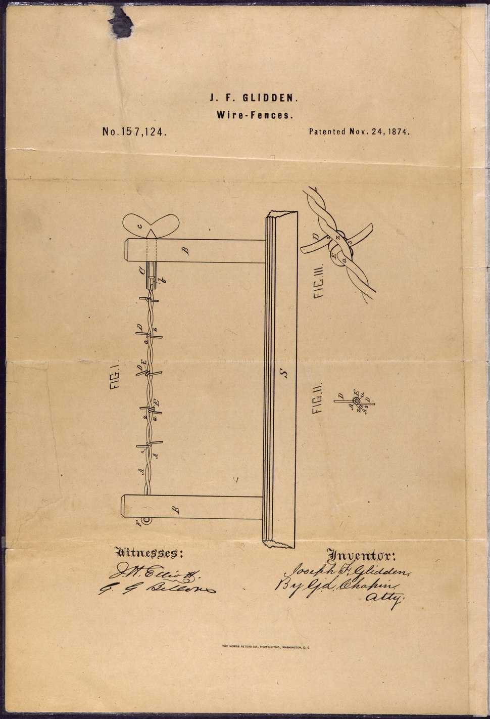 Patent Drawing for Joseph F. Glidden's Improvement to Barbed Wire - NARA - 302051