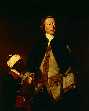 George Treby (politician) - Admiral Paul Henry Ourry (1719–1783), MP, of Plympton House, with 'Jersey'. Portrait by Sir Joshua Reynolds (1723–1792). Collection of Saltram House, Plympton, property of National Trust