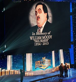Paul Bearer - Bearer was posthumously inducted into the WWE Hall of Fame by his two real-life sons (bottom right).