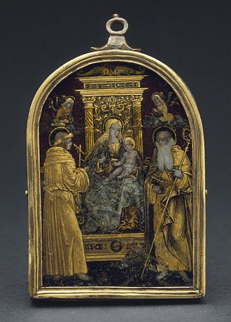 Pax (liturgical object) - Northern Italy, c. 1480, Glass, paint, gilt, copper, metal foil, 10.16 cm high