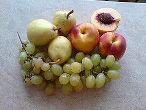 Peach, grape and pears
