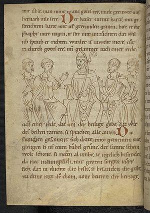 Tilpin - Turpin in the Codex Palatinus Germanicus 112 at Heidelberg University Library.