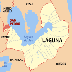 Map of Laguna showing the location of San Pedro