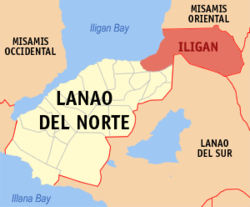 Map of Lanao del Norte with Iligan highlighted