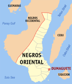 Map of Negros Oriental with Dumaguete highlighted