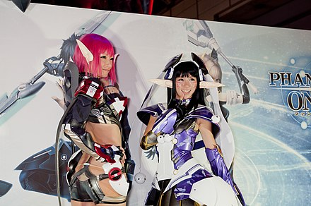 Cosplayers promoting Phantasy Star Online 2 in 2012 Phantasy Star Online cosplay models (2012).jpg