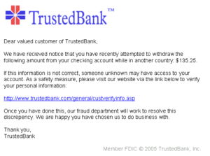 An example of a phishing email, disguised as an official email from a  (fictional) bank. The sender is attempting to trick the recipient into  revealing ...