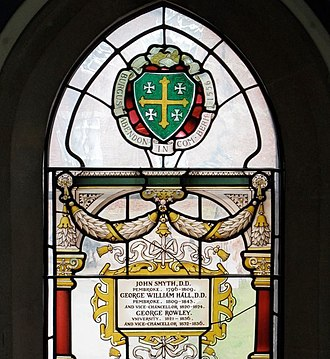 George William Hall - Stained glass by C E Kempe in the Grundy Library at Abingdon School, containing the name of George William Hall