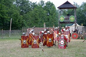 Scutum (shield) - Reenactment of an early imperial legionary shield array.