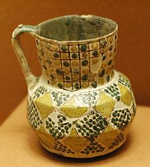 pitcher with chequerboard decoration