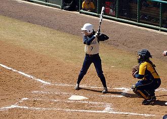 Pittsburgh Panthers softball - Pitt softball player Ashley Sills at bat during the 2013 Cherry Blossom Classic