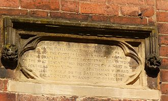 Robert Greville, 2nd Baron Brooke - Plaque in Dam St Lichfield commemorating Lord Brooke's death
