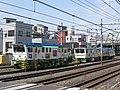 Plasser & Theurer KSP 2002 E work vehicles in Warabi, Saitama pref, Tohoku Main Line 2020-03-21.jpg