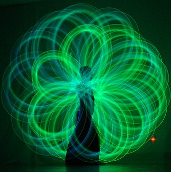 Poi spinning. Poi artist: Nick Woolsey