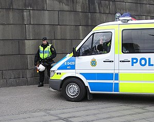 Swedish police and police car.
