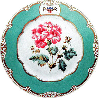 White House china - A piece from the Polk dessert service.