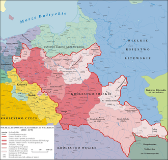 Galicia–Volhynia Wars - Map of Kingdom of Poland (1333–70). Note territorial expansion into southeast (light pink).