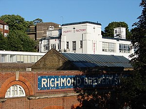 Richmond Brewery Stores - The Poppy Factory in Richmond, with Richmond Brewery Stores in the foreground