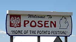 Welcome sign for Posen.
