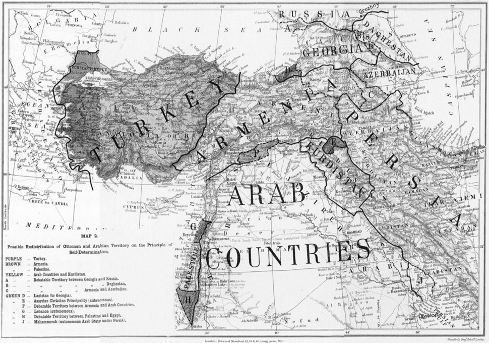 Possible Redistribution of Ottoman and Arabian Territory on the Principle of Self-Determination November 1918