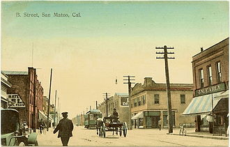 San Mateo, California - Interurban Railroad Car riding up B Street, circa 1909