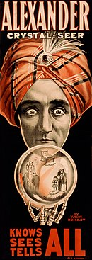 "Antique carnival poster: ""Alexander Crystal-Seer: Knows, Sees, Tells All"""