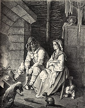 Hop-o'-My-Thumb - Illustration by Gustave Doré, from Les Contes de Perrault (1862), depicting Hop-o'-My-Thumb hiding under a stool, listening to his parents as they discuss abandoning him and his brothers.