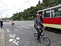Průvod tramvají 2015, 11c - tramvaj 2222 a 1111 a 1219 a cyklisté.jpg