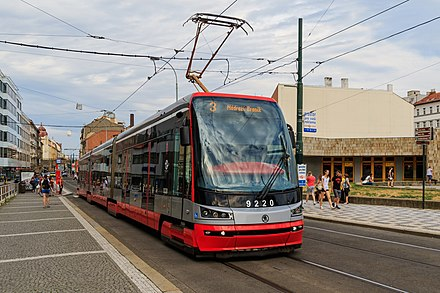 Skoda 15 T, tram of the Prague tram system Prague 07-2016 tram at Florenc.jpg