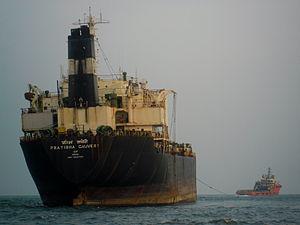 Cyclone Nilam - MT Pratibha Cauvery which ran aground near Marina beach was towed by Malavya towing ship from Mumbai.