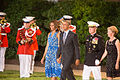 President Barack Obama and first lady Michelle Obama arrive for an Evening Parade June 27, 2014, at Marine Barracks Washington (MBW) in Washington, D.C. MBW hosts Evening Parades every Friday from May through 140627-M-ZR832-773.jpg