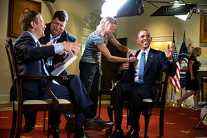 Meet the Press - U.S. President Barack Obama participates in an interview with Todd in the Cabinet Room of the White House; September 6, 2014.