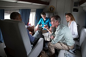 Sally Jewell - Jewell (center) aboard Marine One with (left to right) President Barack Obama, Bill Nye, and Rep. Debbie Wasserman Schultz for Earth Day, April 22, 2015