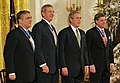 President George W. Bush stands with recipients of the Presidential Medal of Freedom.jpg
