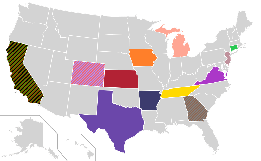 File presidential candidate home state locator map 1996 for Presidents and their home states