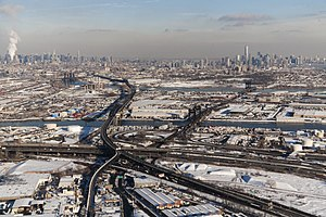 South Kearny, New Jersey - The Pulaski Skyway (left) and the Lincoln Highway cross The Passaic and Hackensack.