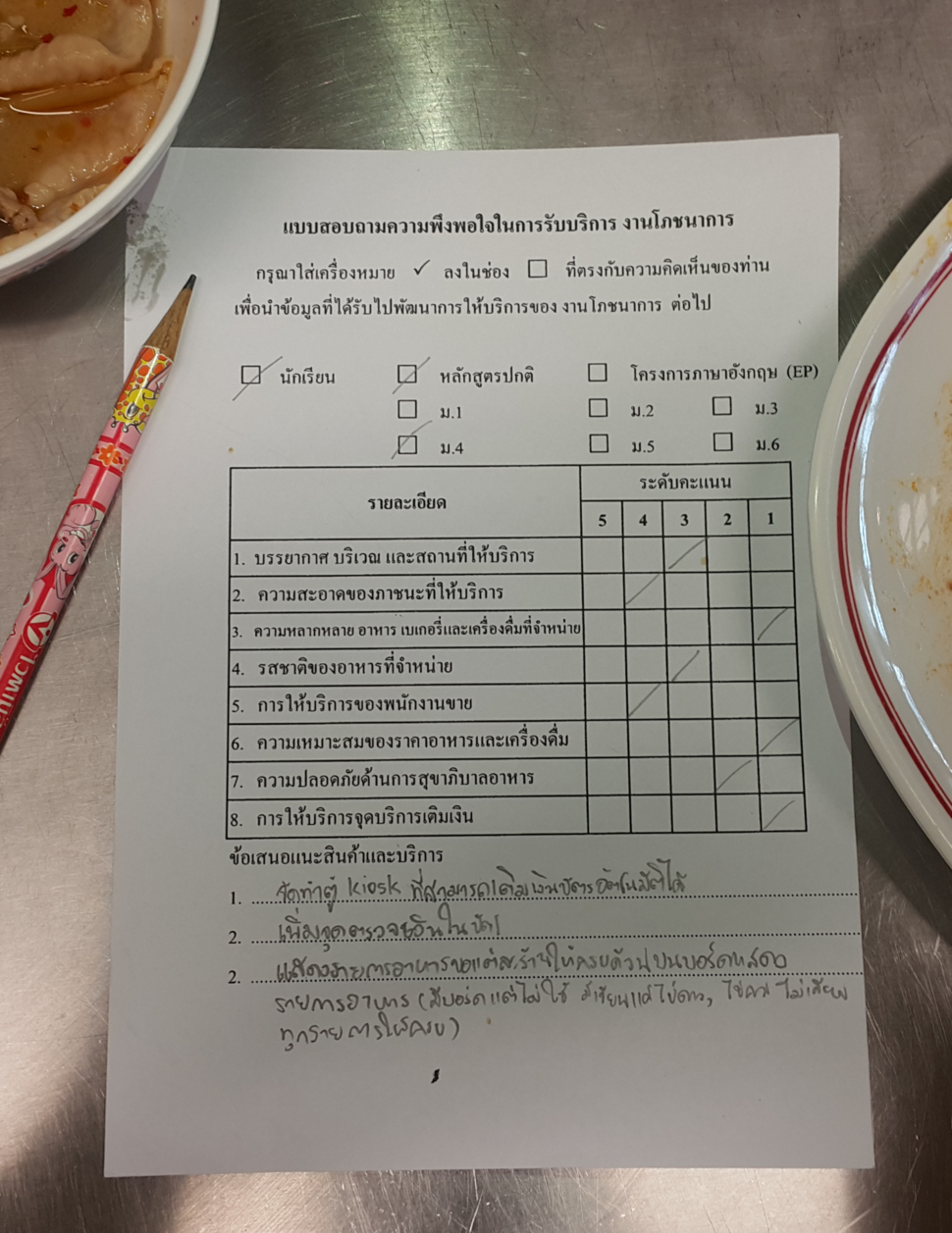 Questionaire in Thai