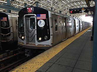 Q (New York City Subway service) - A train made of R160 cars in Q service approaching its south terminus, Coney Island–Stillwell Avenue