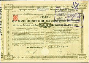 Raaberbahn - Share of the Raab-Oedenburg-Ebenfurther Eisenbahn, issued 1. February 1876