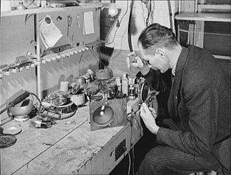 United States Office of War Information - Washington, D.C. Radio repair service in the self-help exchange.