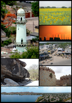 Raichur district - Raichur district montage   Clockwise from top left:Ek Minar Masjid in Raichur, Sunflower fields near Buddinni, Raichur Thermal Power Station, Channamma Circle Sindhanur, Mudgal fort, Aam Talab Lake in Raichur, outer view of Rock edicts of Asokha at Maski.