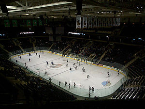 Interior of Ralph Englested Arena during a hoc...
