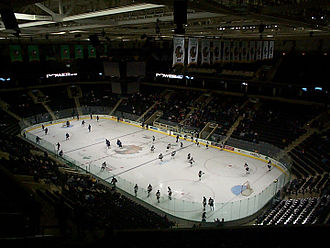 North Dakota Fighting Hawks men's ice hockey - The new Ralph Engelstad Arena in November 2001