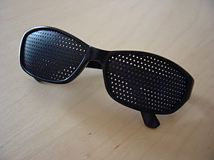 Pinhole glasses, a kind of eyeglasses.