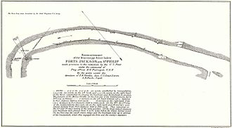 U.S. National Geodetic Survey - A survey of the Mississippi River in Louisiana below Fort Jackson and Fort St. Philip made by the U.S. Coast Survey to prepare for the bombardment of the forts by David Dixon Porter's mortar fleet in April 1862 during the American Civil War.
