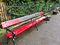 Red bench, Poynton railway station.jpg