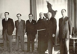Mehdi Frashëri - Members of the Albanian cabinet. From left to right, Fuat Dibra, Mihal Zallari, Mehdi Frashëri, Father Anton Harapi, Rexhep Mitrovica and Vehbi Frashëri