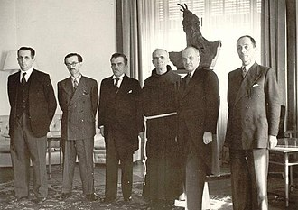 German occupation of Albania - Members of Regency Council – From left to right: Fuat Dibra, Mihal Zallari, Mehdi Frashëri, Father Anton Harapi, Rexhep Mitrovica and Vehbi Frashëri